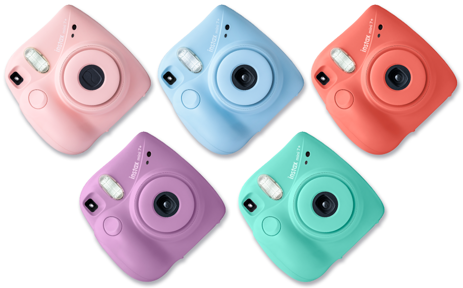 Instax Mini 7plus cameras in different colors