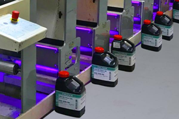 [photo] 300 Series UV flexo inks lined on the factory floor