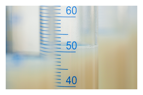 Graduated cylinder filled with liquid