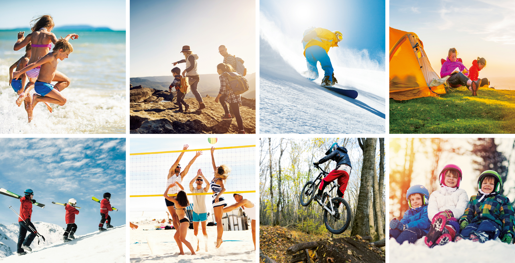 [photo] A photo grid comprising 8 photos with individuals and families engaging in seasonal outdoor activities