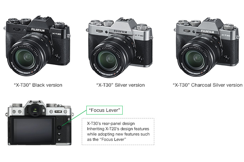 "[Photo]""X-T30"" Black version / ""X-T30"" Silver version / ""X-T30"" Charcoal Silver version / X-T30's rear-panel design"