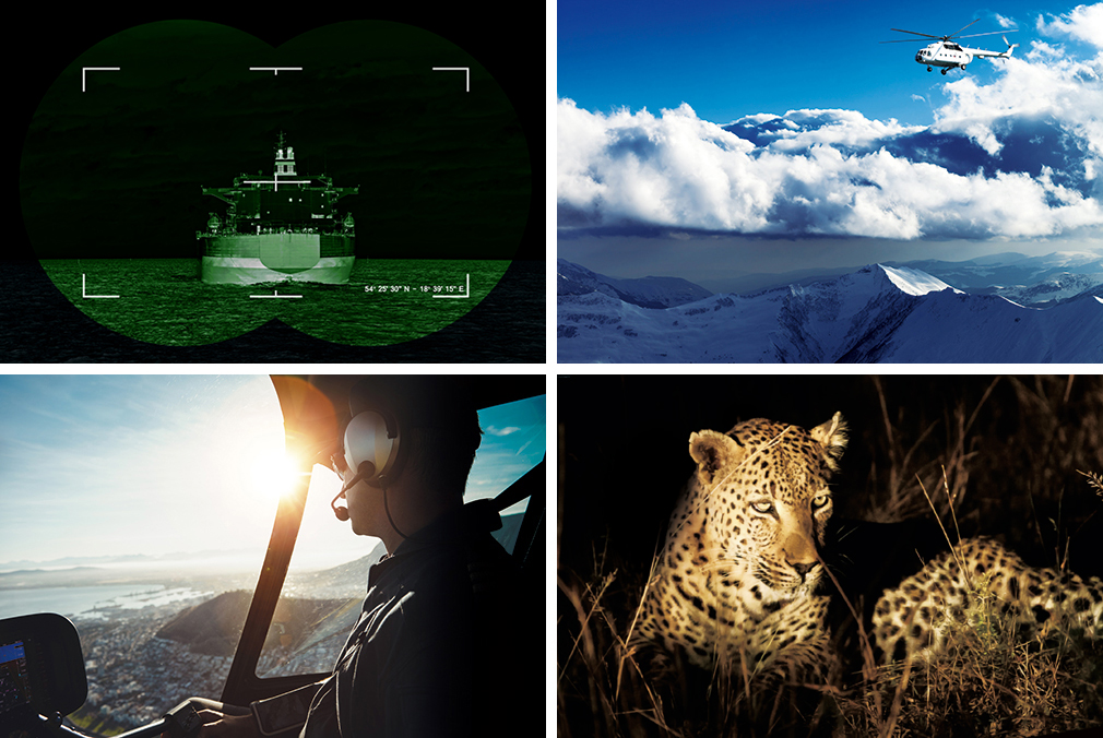 [photo] Night-vision of battleship (top-left), white helicopter flying over snowy mountain (top-right), pilot looking out cockpit of helicopter into sunny horizon (bottom-left), and spotted leopard lying in grass at night