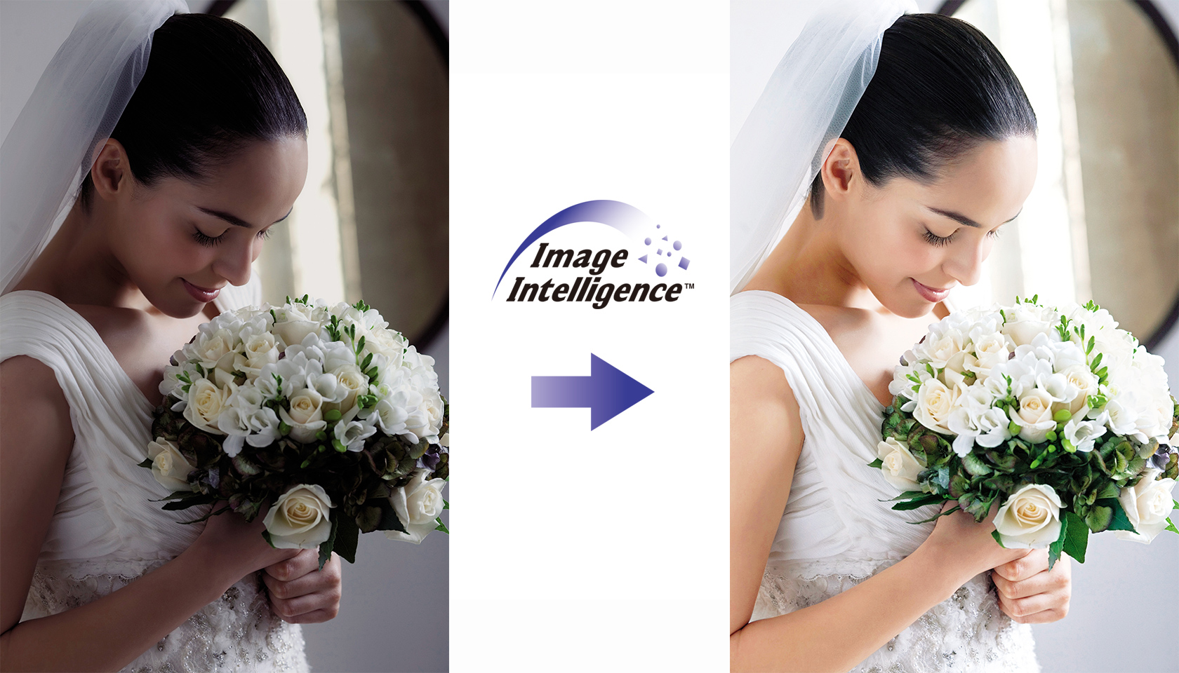 [photo] A side by side of a salvaged photo of a bride smelling her bouquet using Image Intelligence