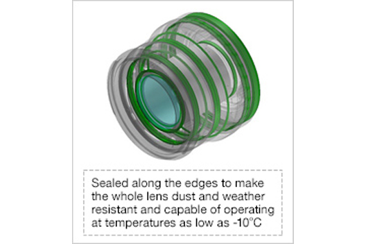 [Photo]Sealed along the edges to make the whole lens dust and weather resistant and capable of operating at temperatures as low as -10°C.