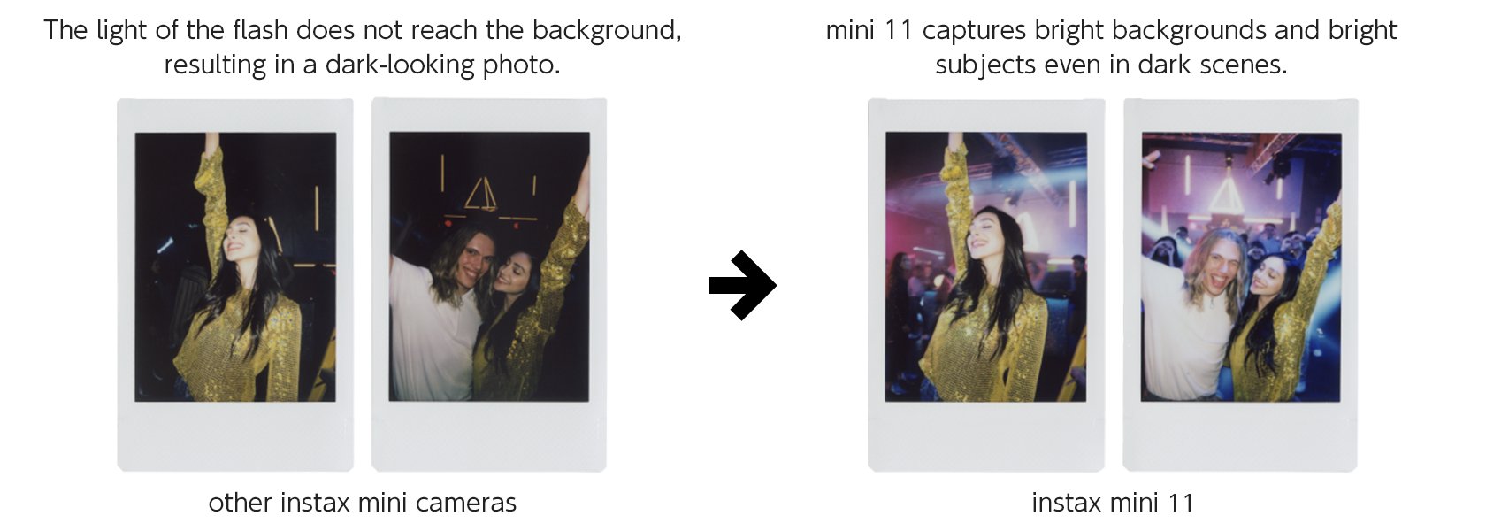 [photo] Photo prints of woman with dark background taken with instax mini camera versus same pictures with bright backgrounds, taken with instax mini 11