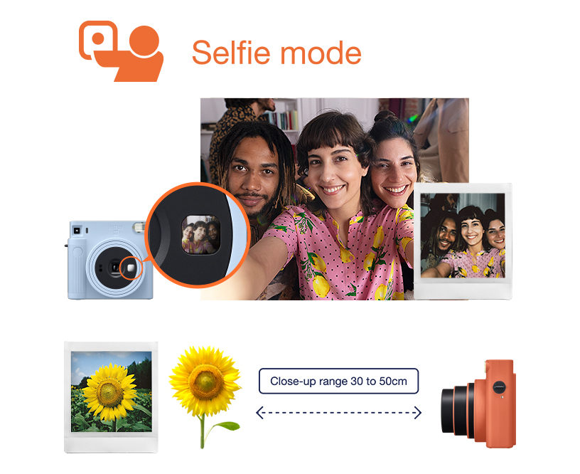 [photo] INSTAX SQUARE SQ1 Selfie photo of 3 friends taken with Selfie mode and photo of Sunflower captured at close-range of 30 to 50cm