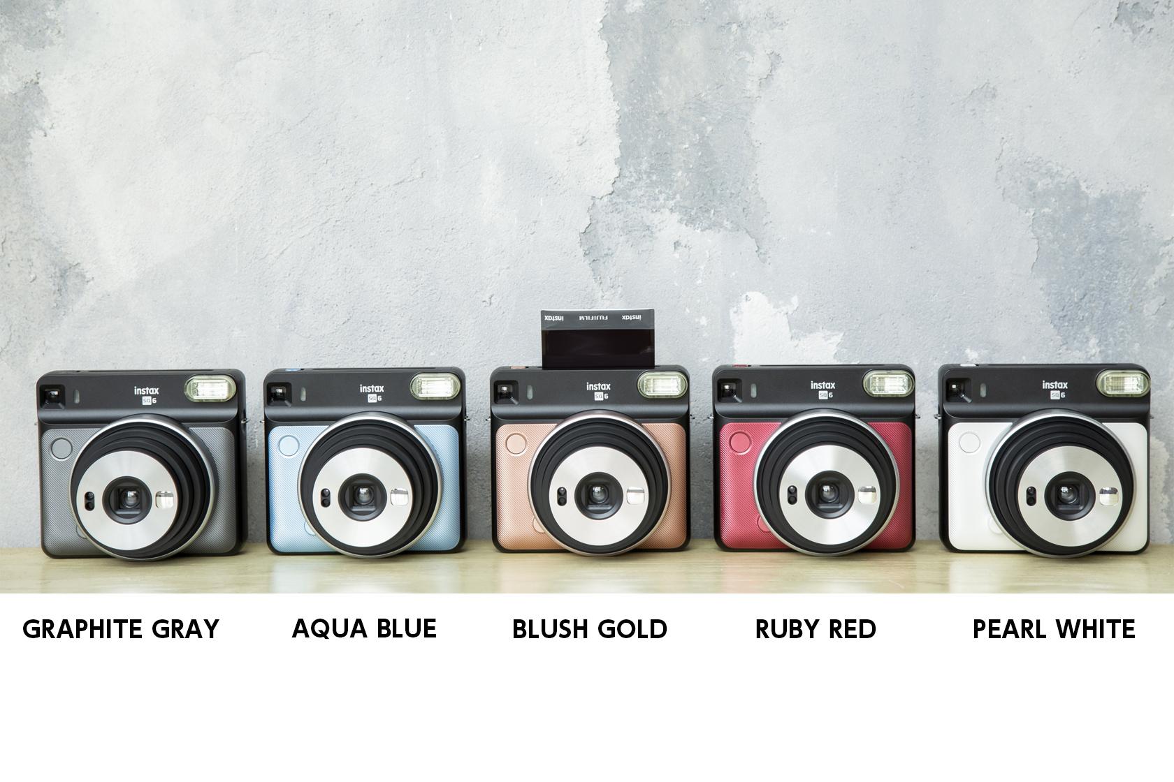 [photo] Instax SQUARE SQ6 in Graphite Black, Aqua Blue, Blush Gold, Ruby Red and Pearl White