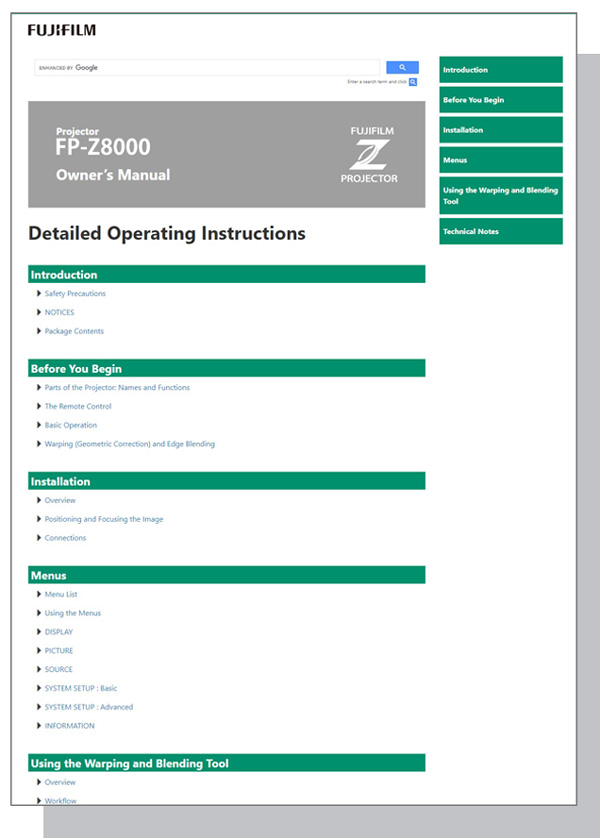 [video] Operation Manual for FP-Z8000 projector