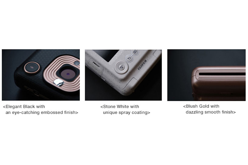 [Photo]<Elegant Black with an eye-catching embossed finish>,<Stone White with unique spray coating>,<Blush Gold with dazzling smooth finish>