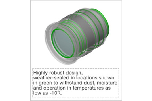 [Photo]Highly robust design, weather-sealed in locations shown in green to withstand dust, moisture and operation in temperatures as low as -10°C.