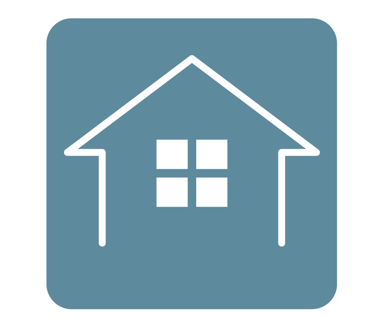 [image] Digital white-outline sketch of small home with window on teal colored background